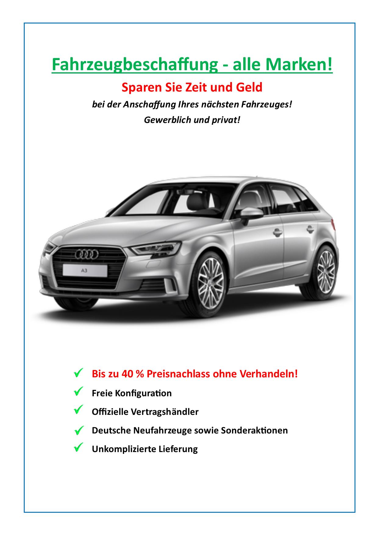 Fahrzeugbeschaffung – Infografik – bis zu 40% Preisnachlass